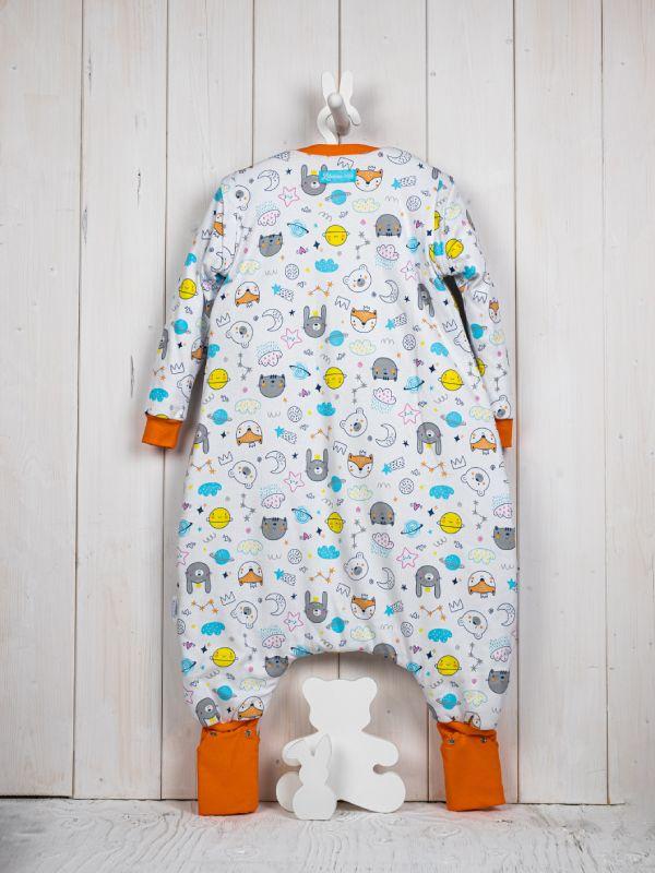 Liberina vreća za spavanje sa nogavicama - dva sloja pamuka - dugi rukavi koji se skidajukoji se skidaju - dodatak za stopala - Planete narandžaste