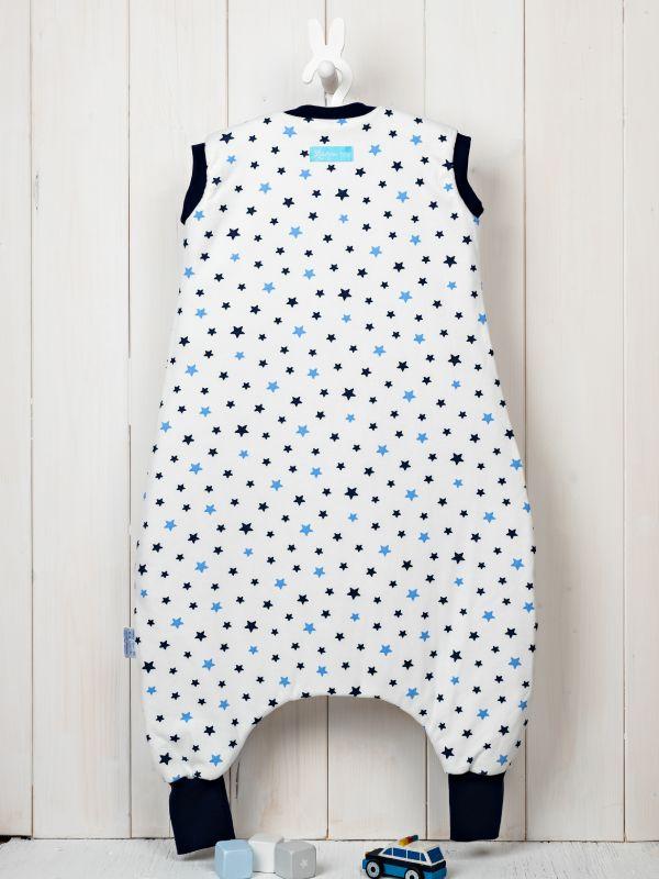 Liberina vreća za spavanje sa nogavicama - dva sloja pamuka - bez rukava - Zvezdice teget-plave
