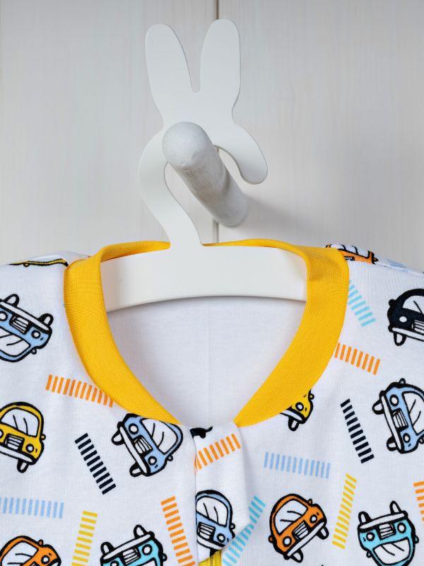 Liberina vreća za spavanje sa nogavicama - dva sloja pamuka - dugi rukavi - Autići žuti