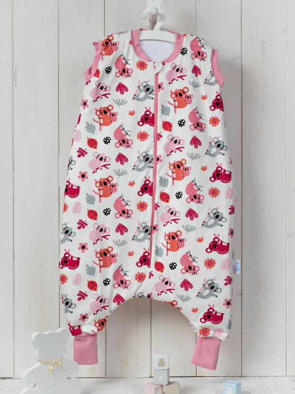 Liberina vreća za spavanje sa nogavicama - jedan sloj pamuka - bez rukava - Koale roze