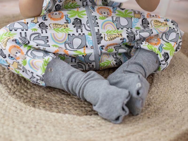 Liberina vreća za spavanje sa nogavicama - jedan sloj punijeg pamuka - bez rukava - dodatak za stopala - Siva džungla