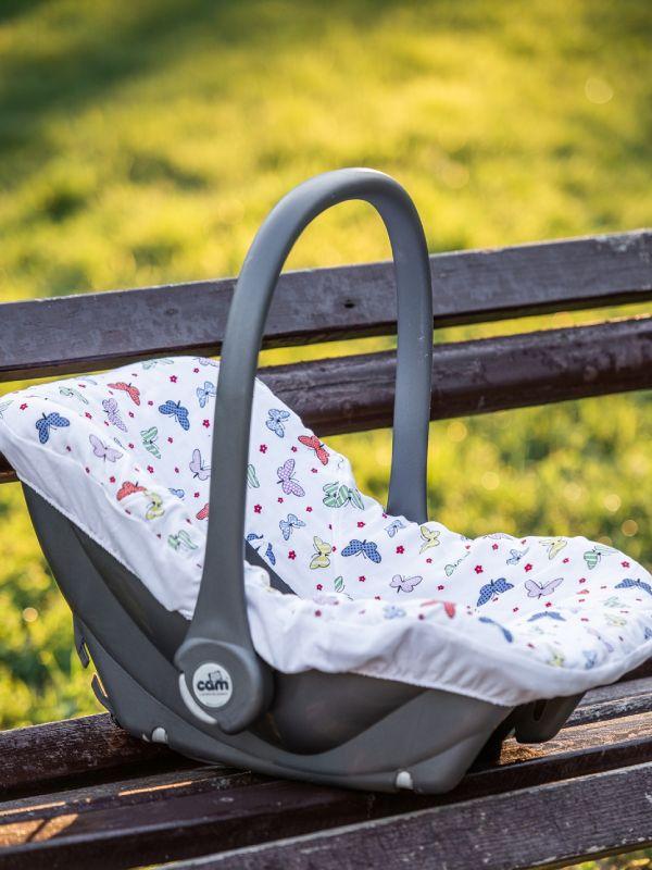 Liberina presvlaka za bebi auto sedište od pamučnog muslina - Leptiri