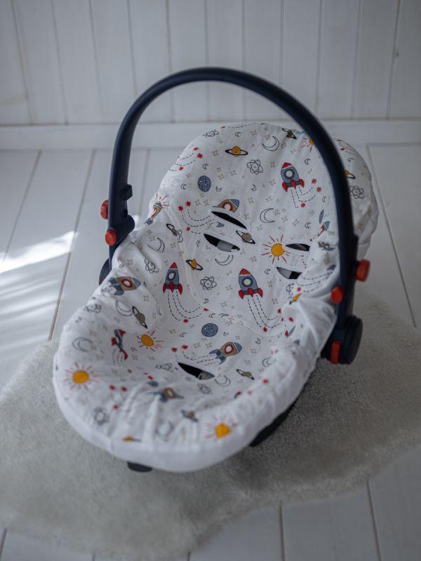Liberina presvlaka za bebi auto sedište od pamučnog muslina - Rakete
