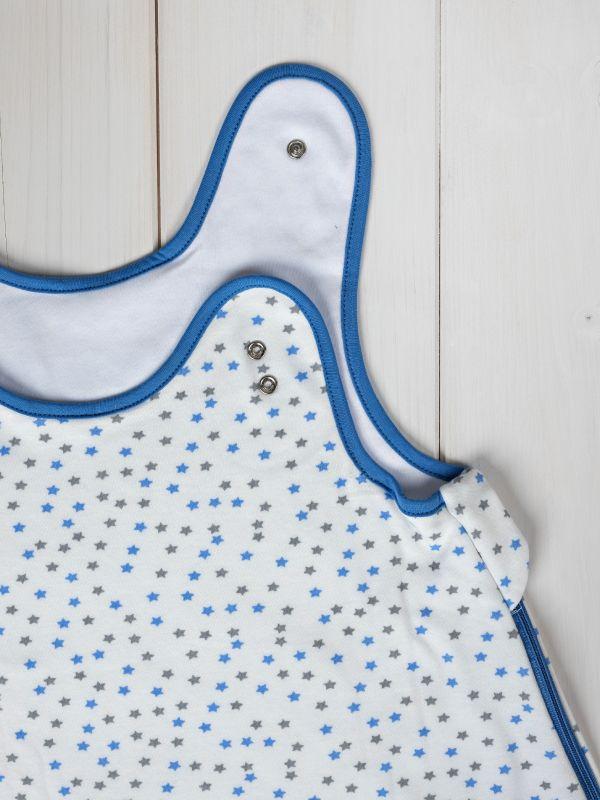 Liberina vreća za spavanje bez nogavica - dva sloja pamuka - bez rukava - Zvezdice plavo-sive