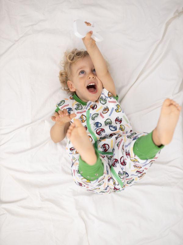 Liberina vreća za spavanje sa nogavicama - dva sloja pamuka - bez rukava - dodatak za stopala - Autići zeleni