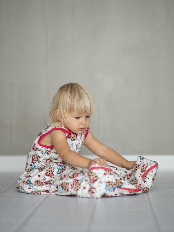 Liberina vreća za spavanje bez nogavica - dva sloja pamuka - bez rukava - Mace sa mašnama