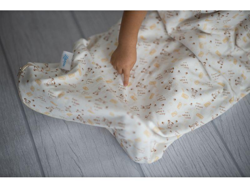 Liberina vreća za spavanje bez nogavica - dva sloja pamuka - bez rukava - Zeke bež