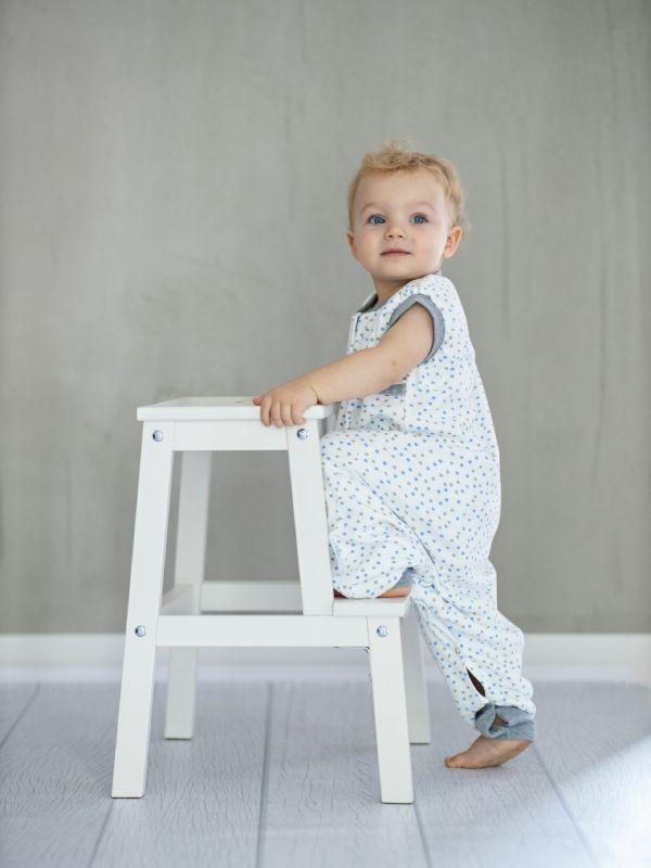 Liberina vreća za spavanje sa nogavicama - dva sloja pamuka - bez rukava - Zvezdice sivo-plave