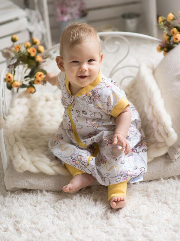Liberina vreća za spavanje sa nogavicama - jedan sloj tankog pamuka - bez rukava - Cvetići žuti