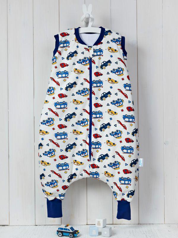 Liberina vreća za spavanje sa nogavicama - punjena - bez rukava - Autići plavi