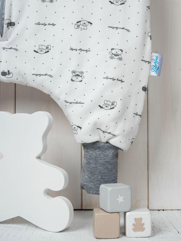Liberina punjena vreća za spavanje sa nogavicama - dugi rukavi od dva sloja pamuka - Sive mede