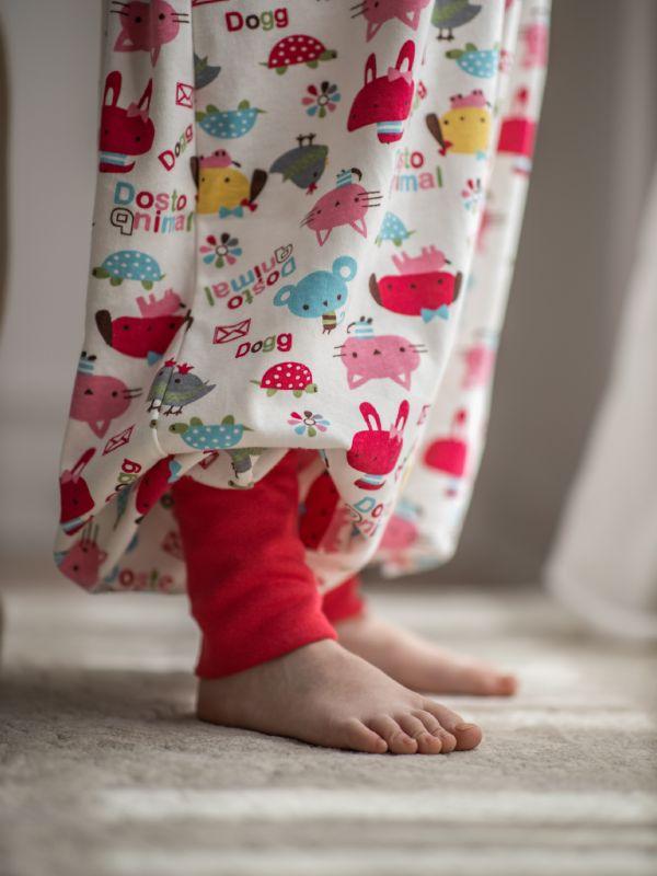 Liberina vreća za spavanje sa nogavicama - dva sloja pamuka - bez rukava - dodatak za stopala - Roze životinjice