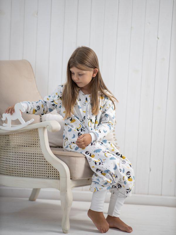 Liberina vreća za spavanje sa nogavicama - dva sloja pamuka - dugi rukavi koji se skidaju - dodatak za stopala - Pande