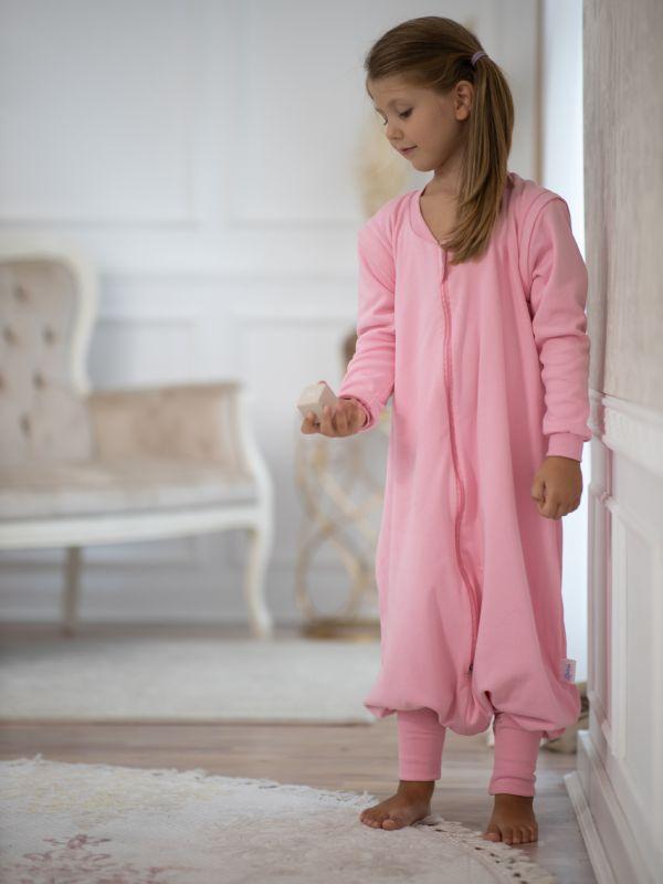 Liberina vreća za spavanje sa nogavicama - dva sloja pamuka - dugi rukavi koji se skidaju - dodatak za stopala - Roze