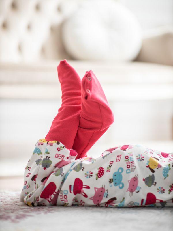 Liberina vreća za spavanje sa nogavicama - jedan sloj punijeg pamuka - bez rukava - dodatak za stopala - Roze životinjice