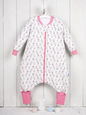 Vreća za spavanje - dva sloja pamuka - dugi rukavi - dodatak za stopala - Zeke roze